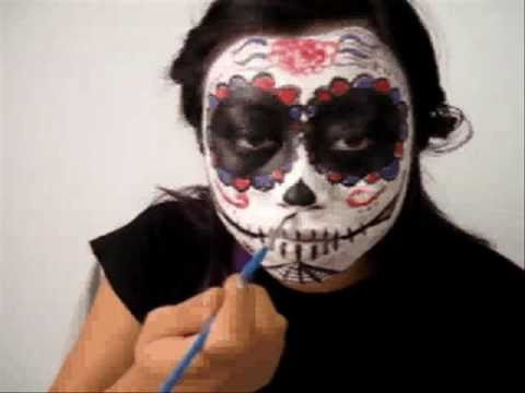 Simple Sugar Skull face painting tutorial - YouTube