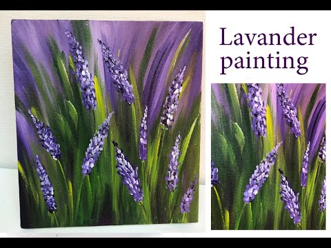 How To Paint Lavender Field \Demonstration /Acrylic Technique On Canvas By Julia Kotenko