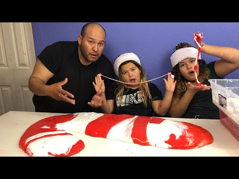 MAKING 4 GALLONS OF GIANT FLUFFY CANDY CANE SLIME