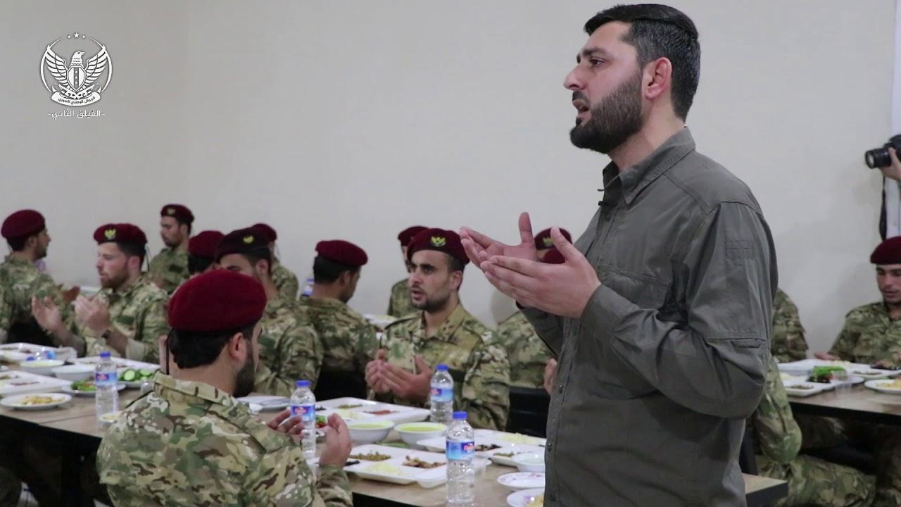 جانب من افطار ضباط ومقاتلي الفرقة في ثكنة الشهيد ياسر أبو الشيخ