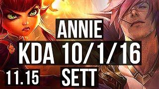 ANNIE vs SETT (MID) | 10/1/16, Rank 3 Annie, Godlike | KR Grandmaster | v11.15