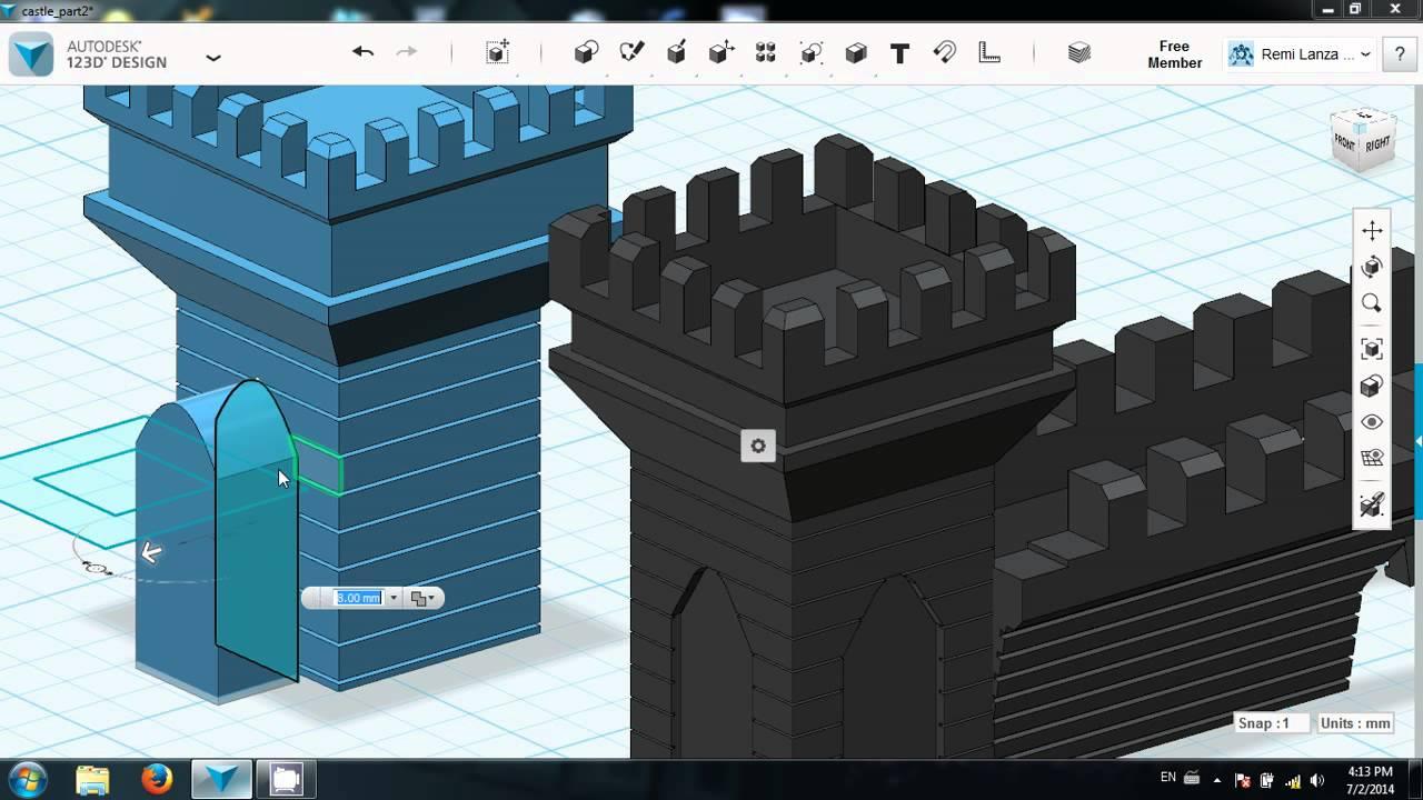 Autodesk 123d Castle Tutorial Part 3 Youtube