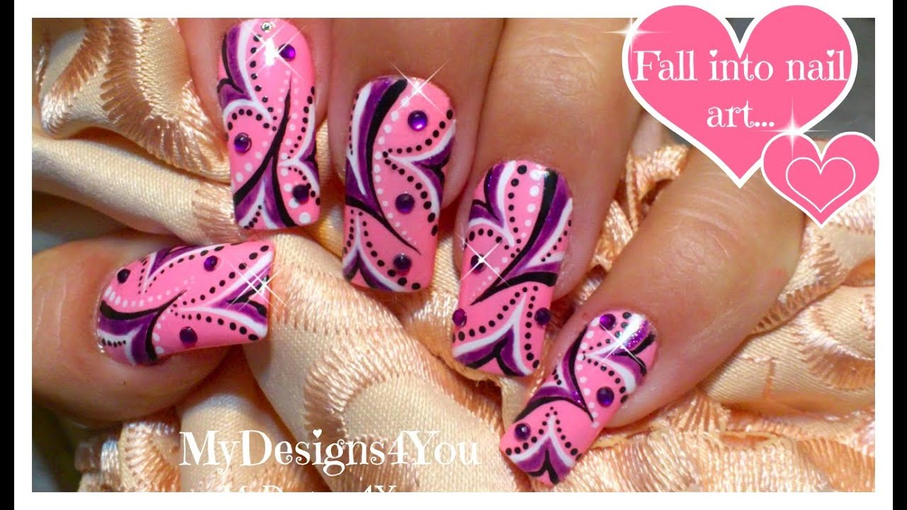 Abstract Nail Art Tutorial Purple And Pink Wonderland Nails