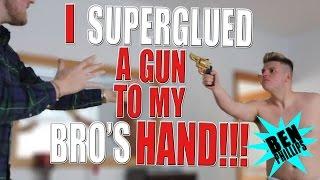 I superglued a gun to my bros hand PRANK!