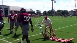 Alabama's New Defensive Coordinator, Jeremy Pruitt working with inside linebackers