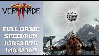 My LUCKIEST Completed Speedrun EVER! | Warhammer: Vermintide 2 Speedrun | World Record | 1:40:42 IGT