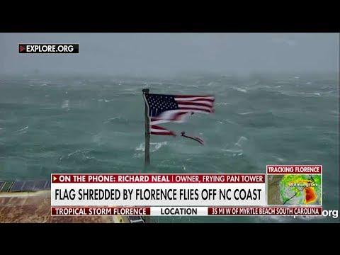 LOOK: American Flag Shredded By Florence Flies Off North Carolina Coast