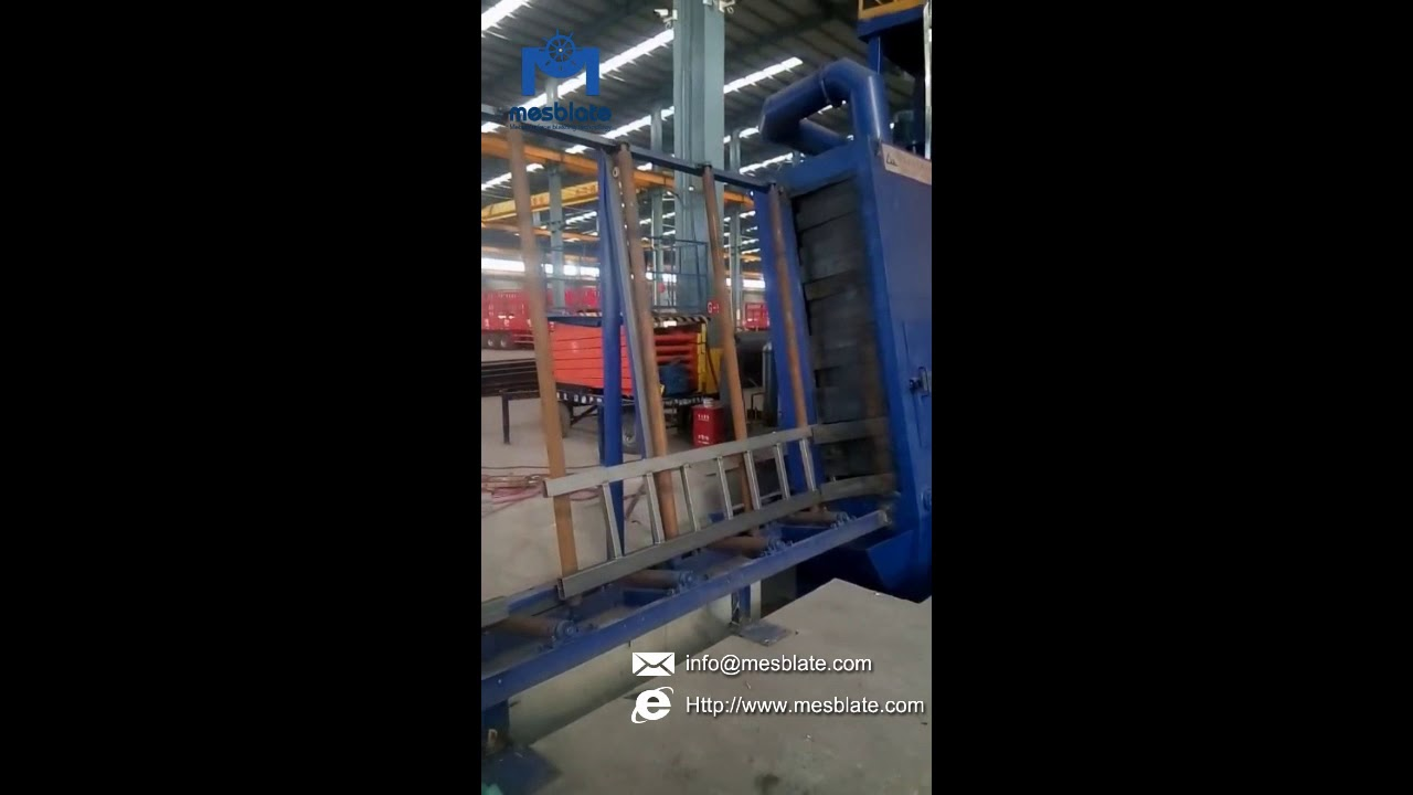 Vertical Roller Conveyor Shot Blasting Machine Video 1
