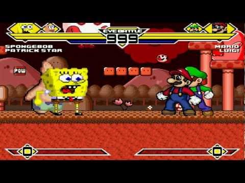 Spongebob & Patrick vs Mario & Luigi (Warner) MUGEN Battle!!! (REMATCH)