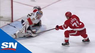 Dylan Larkin Gets Out Of Penalty Box Then Uses Slick Deke To Beat Sergei Bobrovsky