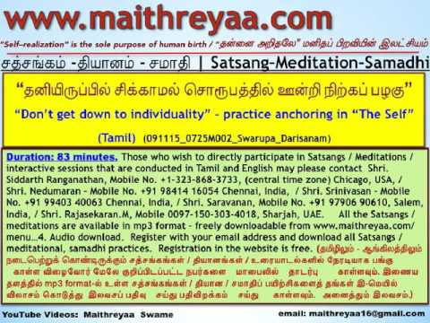 """Don't be swayed by individuality - practice anchoring in """"The Self"""". (Tamil).(HwST00123)"""
