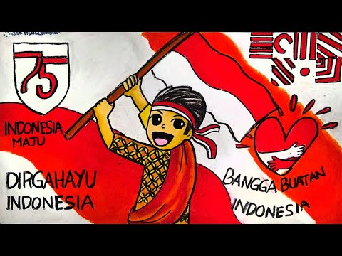 Cara Menggambar Dan Mewarnai Poster Tema 17 Agustus 2020 Hut Ri 75 Tahun Kemerdekaan Ri Ep 207 Youtube