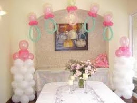 Decoraci n con globos para baby shower youtube for Decoracion de globos para fiestas infantiles paso a paso
