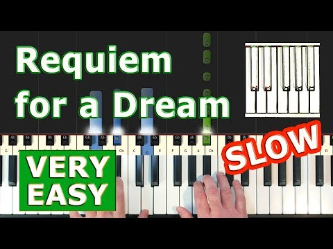 Requiem For A Dream - SLOW VERY EASY Piano Tutorial - Sheet Music (Synthesia) thumbnail