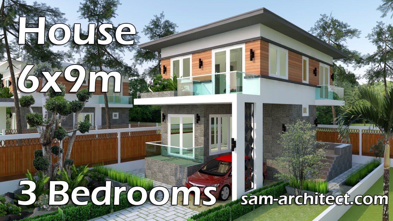 Sketchup small modern 2 level house 6x9m with 3 bedrooms for 2 level tiny house