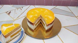 Супер вкуснятина Торт с апельсиновым конфитюром и творожным кремом