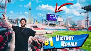 I PLAYED FORTNITE IN A PROFESSIONAL SOCCER STADIUM! *JUMBOTRON*