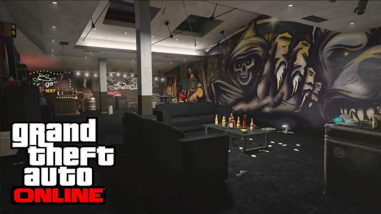 GTA 5 ONLINE : PRESENTATION DES 2 INTERIEURS DE QG DE BIKR - YouTube