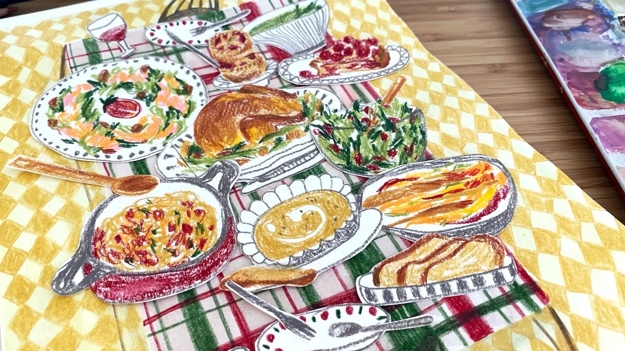 A Fun Christmas Feast with colored pencils   MERRY CHRISTMAS