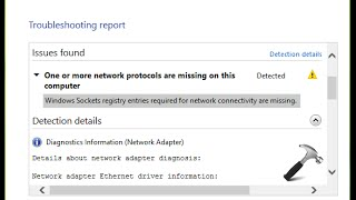 One or more network protocols are missing on this computer  Windows Sockets registry entries missing