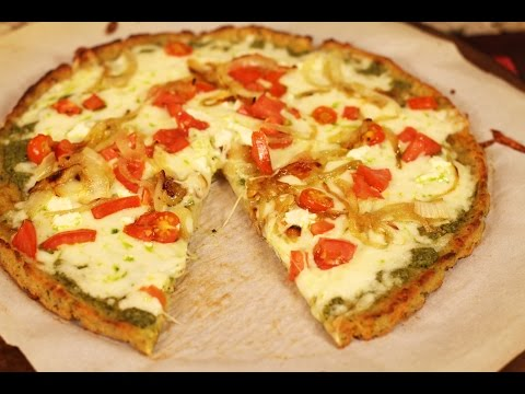 Healthy Pizza: Cauliflower Pizza Crust With Pesto Sauce