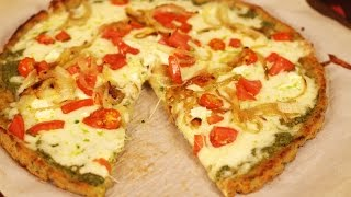 Cauliflower Pizza Crust With Pesto Sauce - Healthy Pizza By Rockin Robin