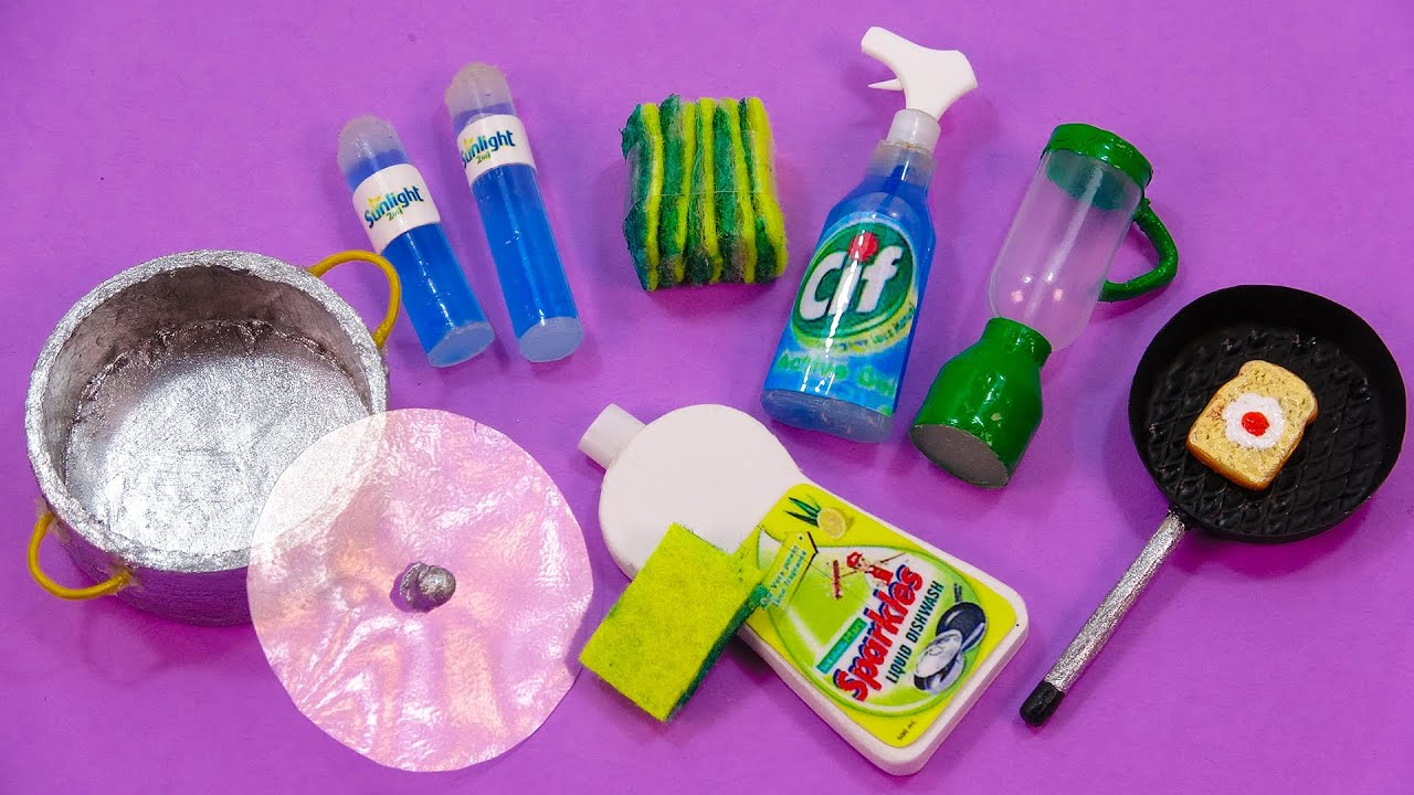 HOW TO MAKE 13 ACTUAL DIY MINIATURE REALISTIC KITCHEN ITEAM FOR DOLLHOUSE BARBIE