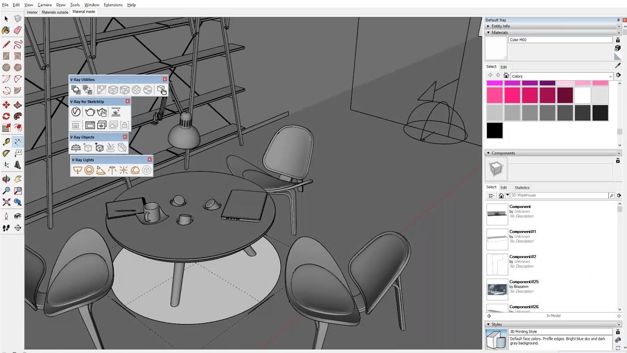 SketchUp Pro ir V-Ray Next – profesionalių vizualizacijų kūrimo darbo eiga