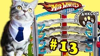 🐾😺  КОТиК ДИКСОН на треке Hot Wheels- Мегагараж. Смешное видео про кошек