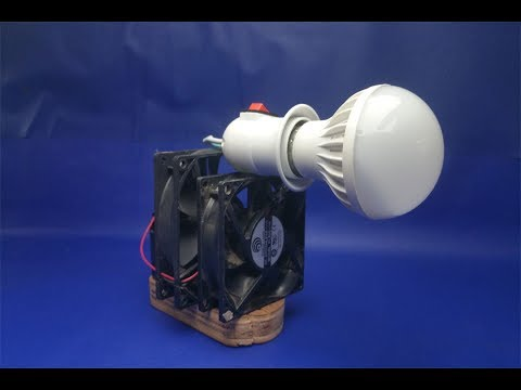 free energy Electricity  light bulbs with fan easy - simple at home