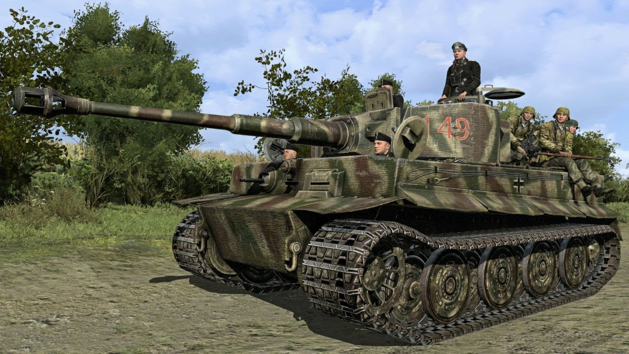 Realistic Simulation of a Tank Battle on your PC!! 5 Tigers H1 vs  15  Shermans M4