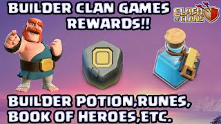 BUILDER GAMES REWARDS DETAIL-RUNES,BUILDER POTION,BOOK OF HEROES AND MANY MORE||CLASH OF CLANS