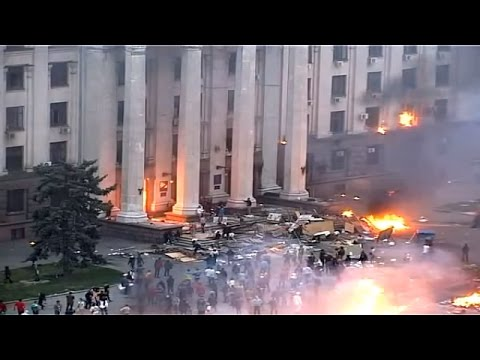 Ukraine War - Fire at trade unions building in Odessa Ukraine