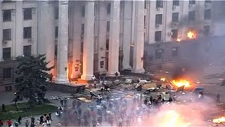 Trade Union House Fire In Odessa Full Video, May 2 2014