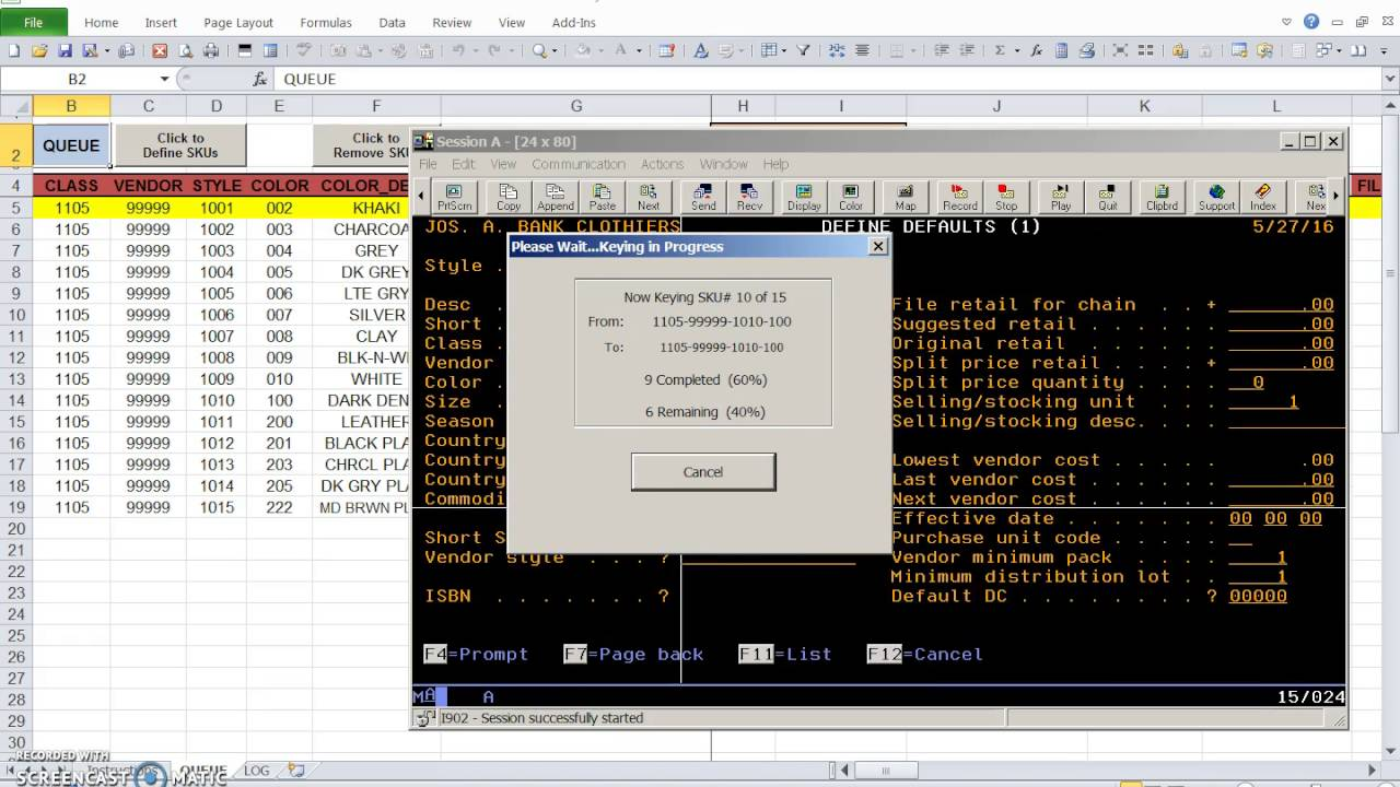 IBM iSeries\Excel Interface Video 2 of 2: Key to AS/400 Terminal