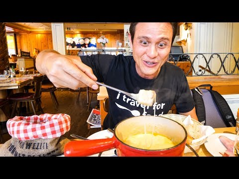 The Ultimate Swiss Food Tour - CHEESE FONDUE and Jumbo Cordon Bleu in Zurich, Switzerland!