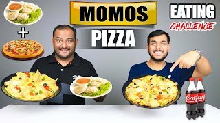 MOMOS PIZZA EATING CHALLENGE | Pizza Momos Eating Competition | Food Challenge