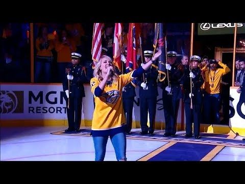 Carrie Underwood sings anthem before the start of Game 2