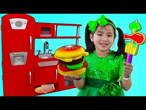 Jannie Pretend Play Cooking BBQ w/ Cute Kitchen Play Set Kids Food Toys