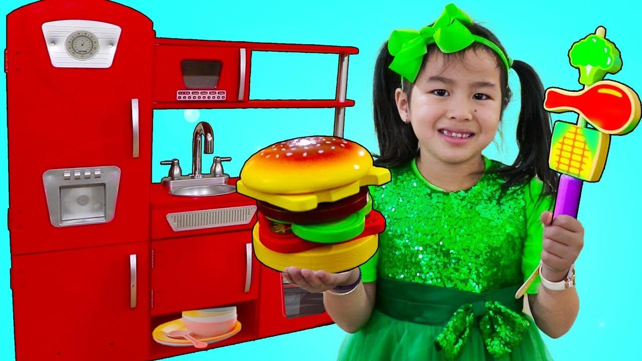 Download Jannie Pretend Play Cooking BBQ w/ Cute Kitchen Play Set Kids Food Toys