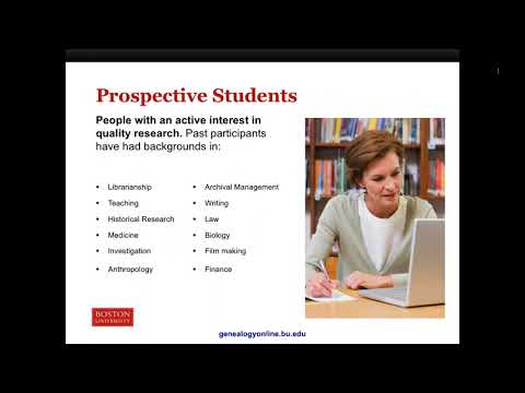 Overview Of Boston University's Programs In Genealogical Research