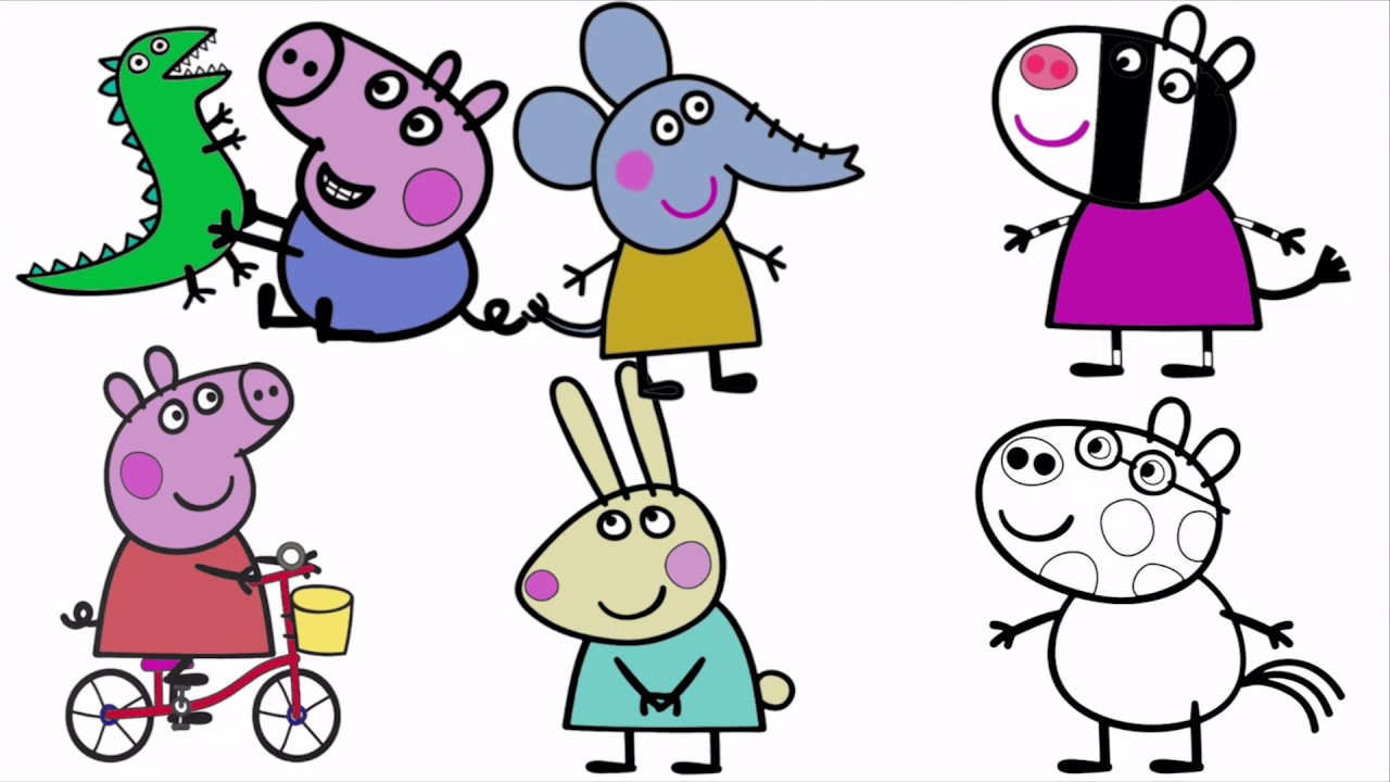 Peppa Pig & Friends Coloring Page YouTube