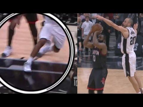 Manu Ginobili Blocks James Harden! Kawhi Leonard Injury, Rockets Spurs Game 5