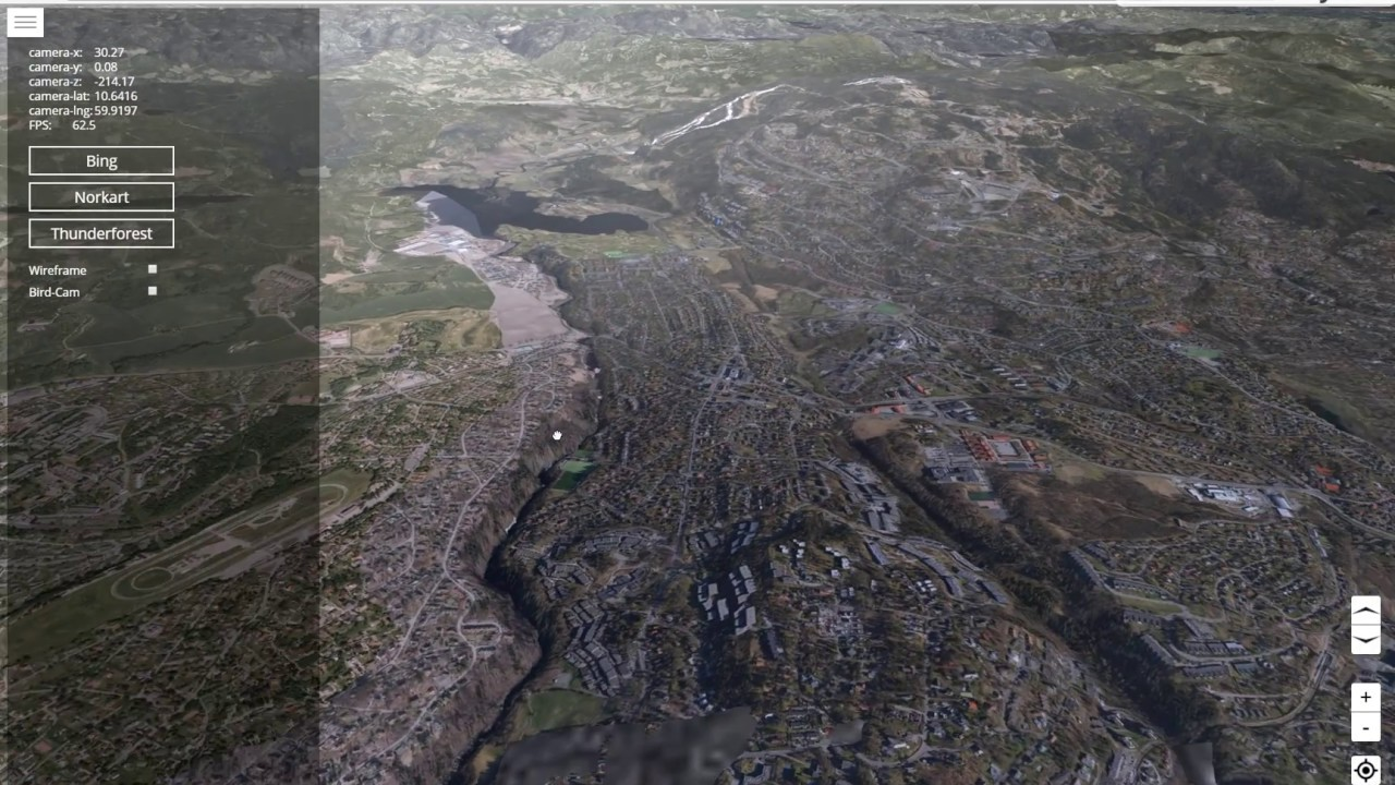 Webgl Map with terrain coded in pure javascript and webgl