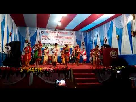 A traditional dance on stage of Modern English School, Rangia