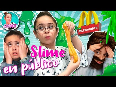 SLIME en el MCDONALDS 🍟 Mi MADRE hace SLIME en PÚBLICO 🙈 Making SLIME in public MCDONALDS