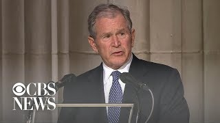 Former President George W. Bush delivers final eulogy at father's funeral