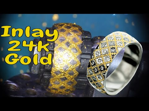 Gold band - Inlay & diamonds