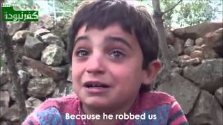 syrian child cries as he speaks his heart! HD