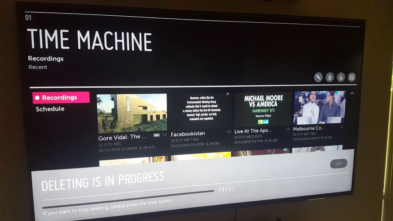LG 70LB6560 TV doesn't have enough memory for LG apps - my attempt to  delete recorded TV program